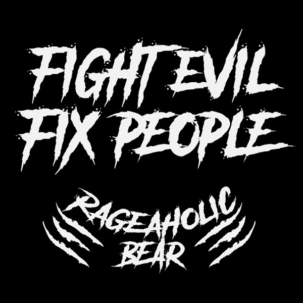 FIGHT EVIL FIX PEOPLE - PREMIUM MEN'S/UNISEX PULLOVER HOODIE - BLACK Design