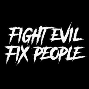 FIGHT EVIL FIX PEOPLE - PREMIUM UNISEX SNAPBACK HAT - BLACK Design