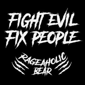 FIGHT EVIL FIX PEOPLE - PREMIUM MEN'S/UNISEX ZIPPER HOODIE - BLACK Design