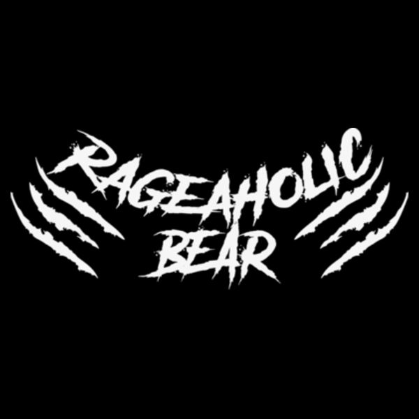 RAGEAHOLIC BEAR LOGO - PREMIUM UNISEX FACE COVERING - BLACK Design