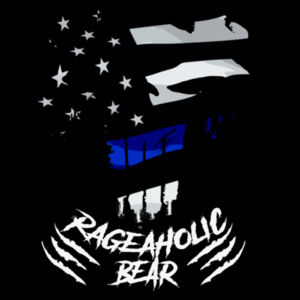 BLUE LINE PUNISHBEAR - PREMIUM WOMEN'S FITTED S/S T-SHIRT - BLACK Design