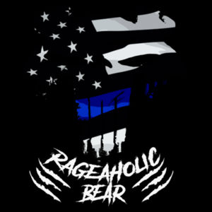 BLUE LINE PUNISHBEAR - PREMIUM UNISEX S/S T-SHIRT - BLACK Design