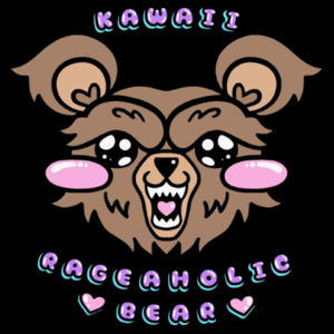 KAWAII BEAR COLORFUL - PREMIUM UNISEX S/S T-SHIRT - BLACK Design