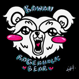 KAWAII BEAR WHITE - PREMIUM WOMEN'S CROPPED PULLOVER HOODIE - BLACK Design