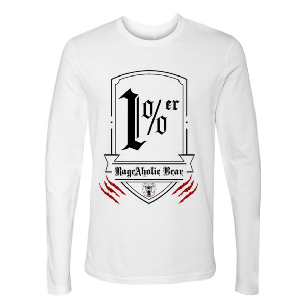 1% er - PREMIUM UNISEX LONG SLEEVE T-SHIRT - WHITE Thumbnail