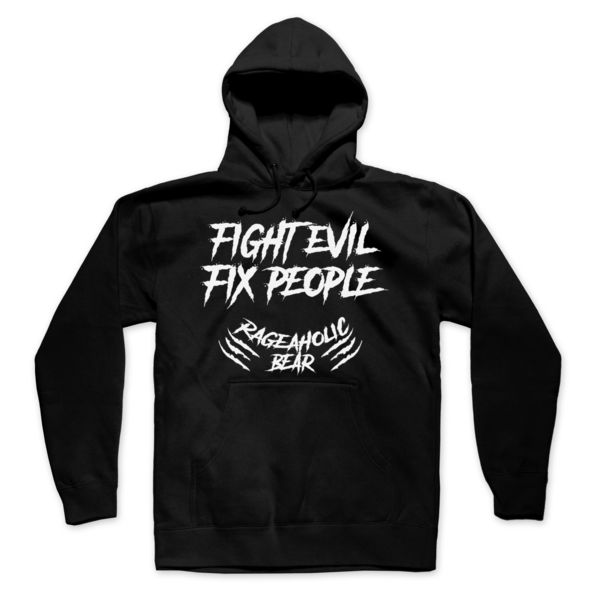 FIGHT EVIL FIX PEOPLE - PREMIUM MEN'S/UNISEX PULLOVER HOODIE - BLACK Thumbnail