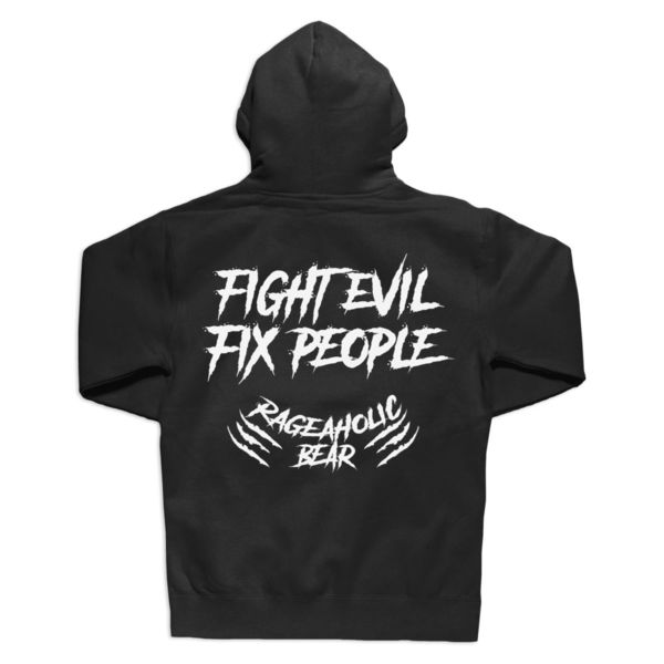 FIGHT EVIL FIX PEOPLE - PREMIUM MEN'S/UNISEX ZIPPER HOODIE - BLACK Thumbnail